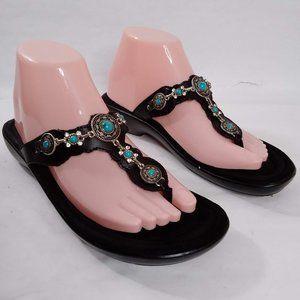 Minnetonka Boca Thong III Leather Jeweled Sandals